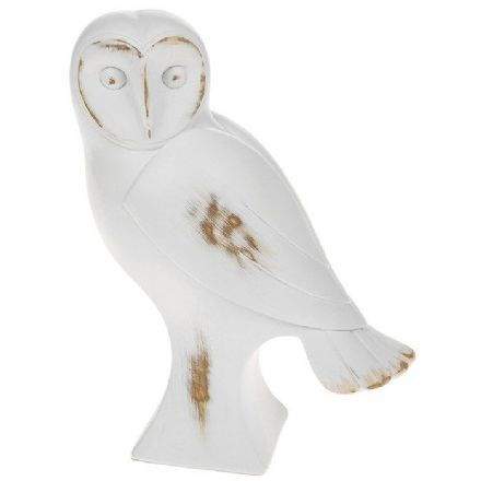 White Wooden Barn Owl Large